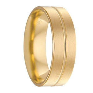Yellow Gold Grooved Mens Wedding Ring with Pearl Finish (F2623)