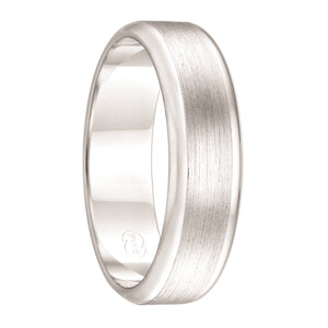 White Gold Dual Grooved Men's Wedding Ring