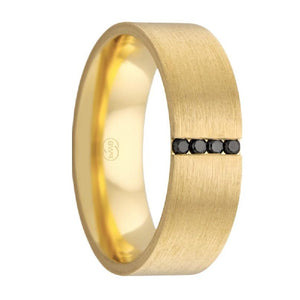 Yellow Gold Wedding Band with Black Diamonds