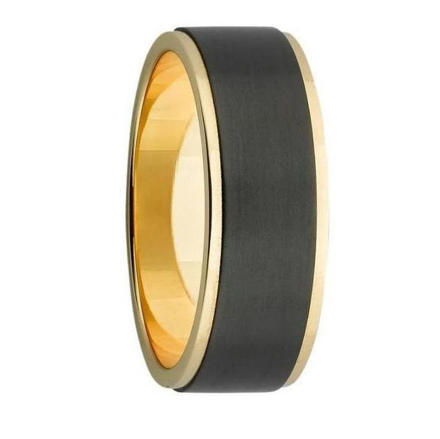 Custom Wide Black Zirconium and Gold Inlay Mens Wedding Ring