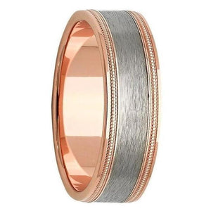 Titanium and rose gold mens wedding ring
