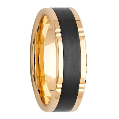Custom Gold Grooved and Black Zirconium Inlay Mens Wedding Ring