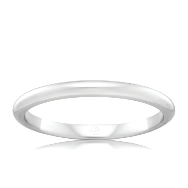 High Dome Platinum Womens Wedding Ring (Deluxe Thickness)