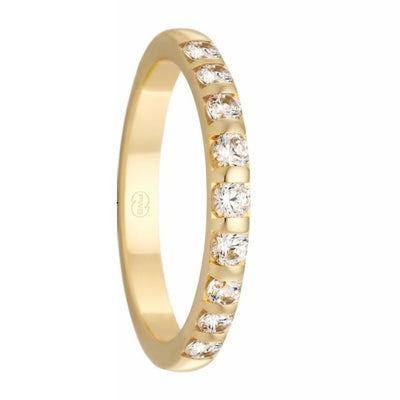 Women's Yellow Gold and Tension Set Diamond Ring - HD3935