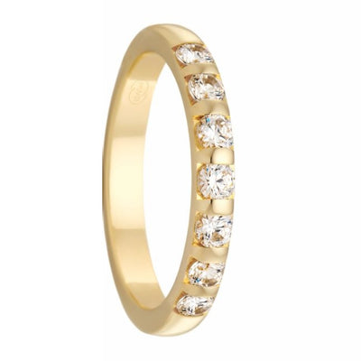 Women's Yellow Gold and Tension Set Diamond Ring - HD3937