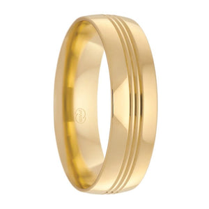 Yellow Gold Multi Grooved Men's Wedding Ring