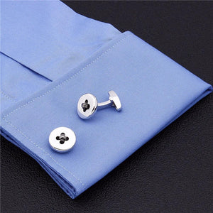 Button Cufflinks - Black Weave