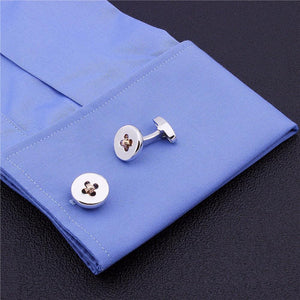 Button Cufflinks - Gold Weave