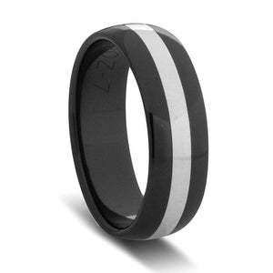 Custom Black Zirconium and Wide White Gold Striped Ring