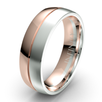 The Ardent Polished Rose Gold and White Gold with Centre Grooved Mens Wedding Ring