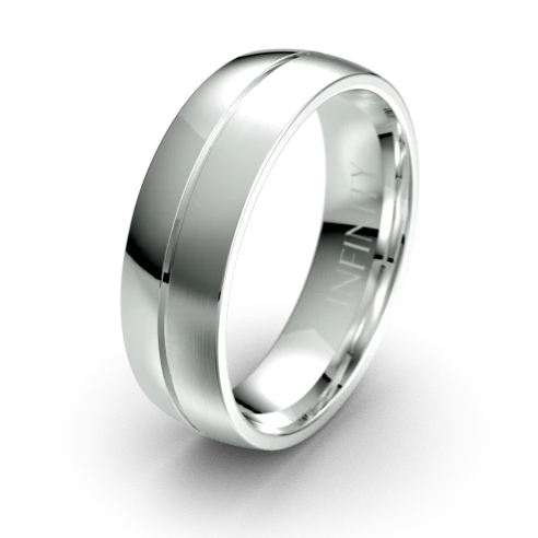 The Ardent Polished White Gold with Centre Grooved Mens Wedding Ring