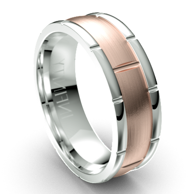 The Warwick Edged & Grooved White and Rose Gold Ring by Infinity