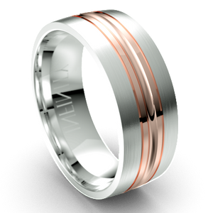 The Everett White and Rose Gold Grooved Wedding Ring by Infinity