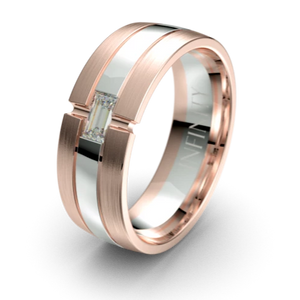 Oxford Rose & White Gold Diamond Mens Wedding Ring by Infinity