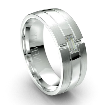 Oxford White Gold Diamond Mens Wedding Ring by Infinity
