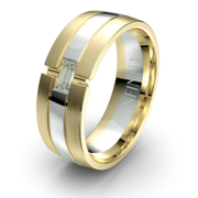 The Oxford Yellow and White Gold Diamond Mens Wedding Ring by Infinity