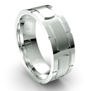 Grooved Pattern Platinum Wedding Ring (IN1369)
