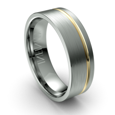 Offset Yellow Gold Groove Titanium Wedding Ring