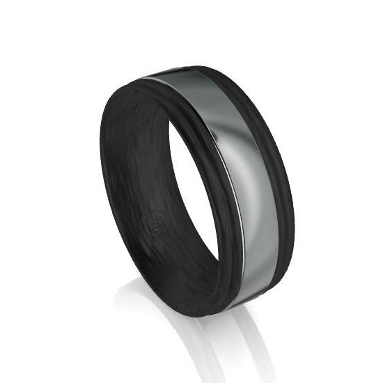 Dual Groove Edge Carbon Fibre and Tantalum Centre Wedding Ring
