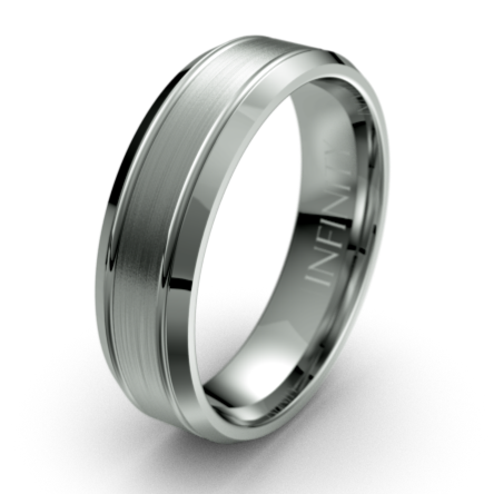 Dual Grooved Bevelled Edges Titanium Wedding Ring
