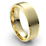 Yellow Gold Bevel Edged Mens Wedding Ring