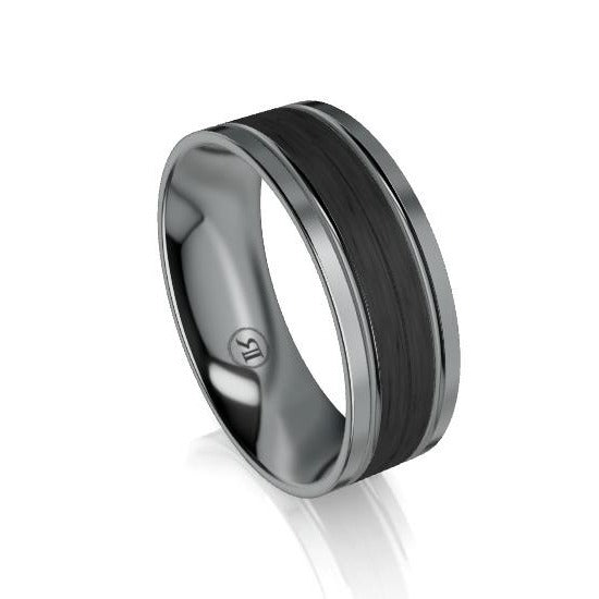 Tantalum Double Groove and Wide Carbon Fibre Centre Wedding Ring