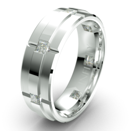 Polished Diamond Groove Pattern Platinum Wedding Ring (IN1811D)