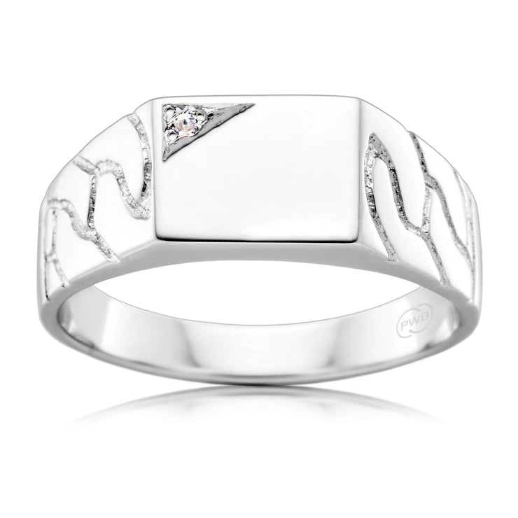 White Gold Etched Signet Ring with Diamond