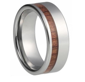 Custom Offset Striped Wood Inlay Tungsten Ring
