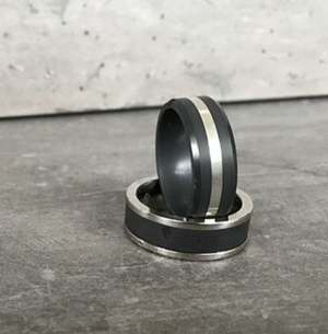 Elysium Matte Black Diamond Wedding Ring with Platinum Inlay