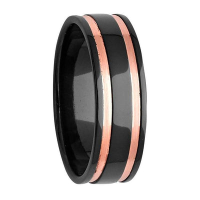 Custom Polished Black Zirconium and Dual Rose Gold Inlay Ring