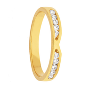 Custom Women's Yellow Gold and Dual Set Diamond Wedding Ring