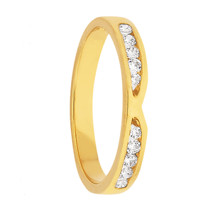 Custom Women's Yellow Gold and Dual Set Diamond Wedding Ring (0.18 ct)