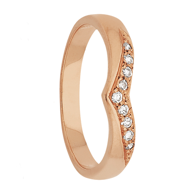 Custom Women's Heart Shaped Rose Gold and Diamond Wedding Ring