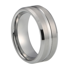 Custom Classic Grooved Tungsten Ring