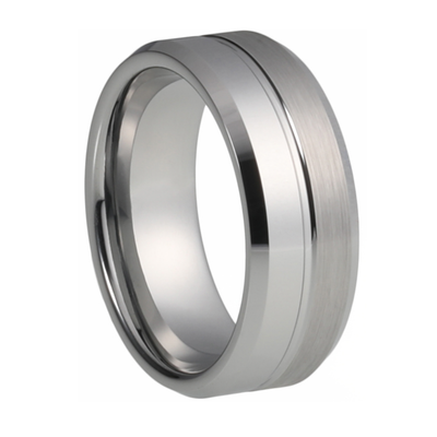 Grooved Tungsten Ring