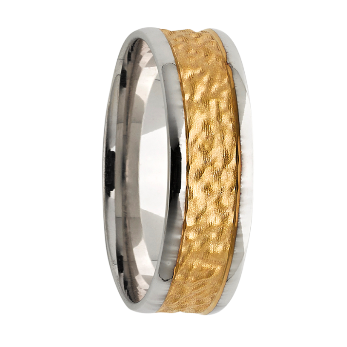 6757a0f3e Hammered Two Tone White and Yellow Gold Men's Wedding Ring - KAVALRI