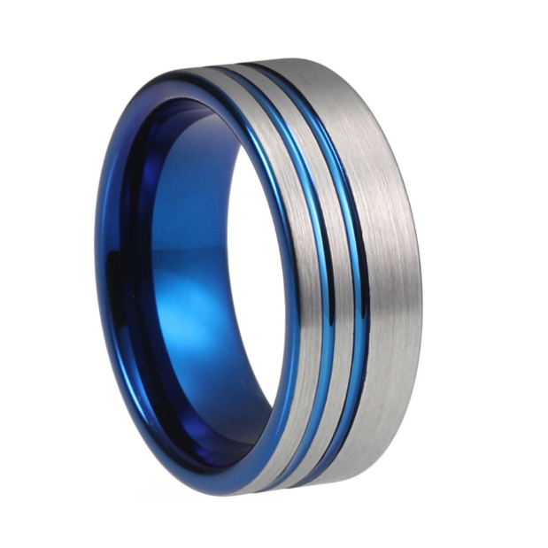 Custom Brushed Silver and Dual Blue Plated Stripes Tungsten Ring