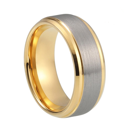 Custom Side Cut Edges Silver and Yellow Gold Plated Tungsten Ring