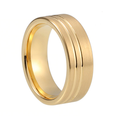 Custom Pipecut Brushed Dual Grooves Yellow Gold Plated Tungsten Ring