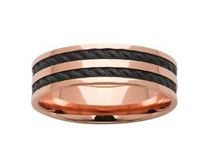 Rose Gold and Black Mens Wedding Ring