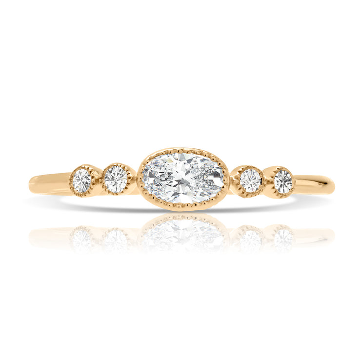 Round Bezel Diamond Women's Ring