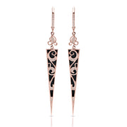 14ct Couture Rose, Onyx & Diamond Triangular Drop Earrings