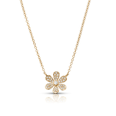14ct Yellow Gold Diamond Flower Necklace