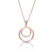 14ct Rose Gold Dual Circle Diamond Necklace