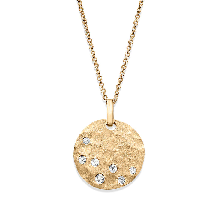14ct Yellow Gold Hammered Disc Diamond Necklace