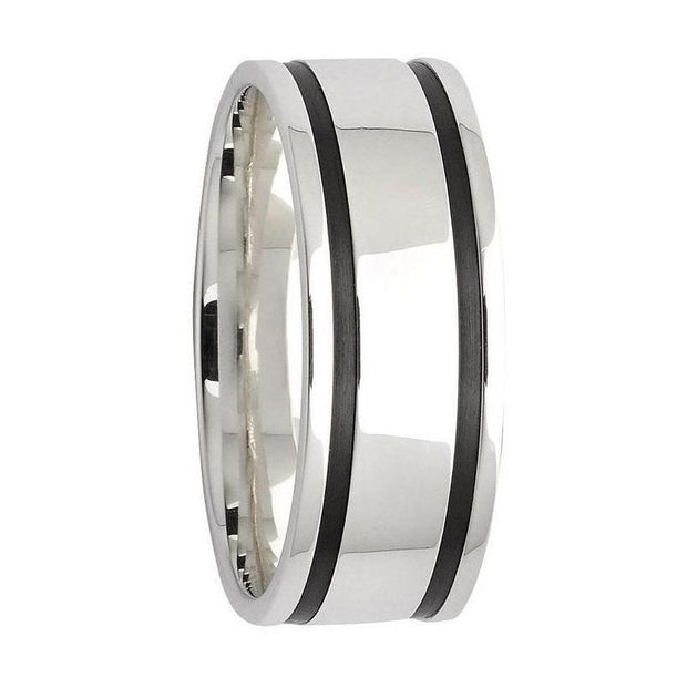 Custom Sterling Silver and Dual Black Zirconium Grooved Wedding Ring