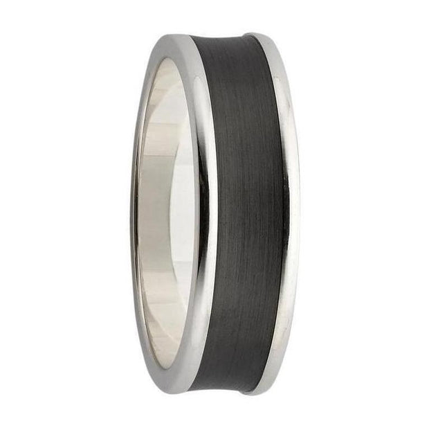 Sterling Silver and Black Zirconium Wedding Ring
