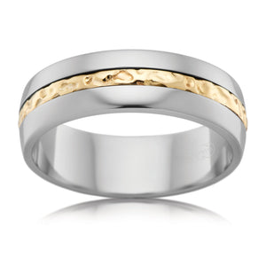 Titanium and Hammered Gold Inlay Mens Wedding Ring