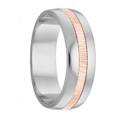 Titanium and Rose Gold Inlay Mens Wedding Ring